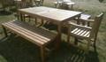 Southwold Rectangular 180 cm Teak Table Set with Backless Benches 1  |C&T Teak | Sustainable Teak Garden Furniture |