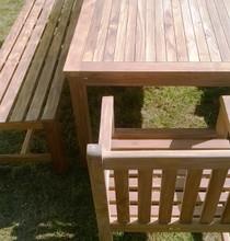 Southwold Rectangular 150 cm Teak Table Set with Backless Benches 3  C&T Teak   Sustainable Teak Garden Furniture  