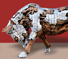 TEAK ROOT AND METAL BULL STATUE| ORDER NOW FOR 2020 DELIVERY