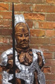 Chinese Warrior Teak root and Metal  Statue
