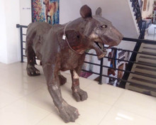 recycled weathered steel Tiger Sculpture