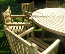 Turnworth Teak 180cm Round Ring Table Set with Southwold Arm Chairs