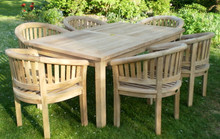 rectangular table with banana arm chairs  |C&T Teak | Sustainable Teak Garden Furniture |Southwold Suffolk