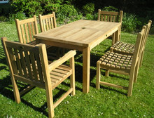 rectangular table with arm chairs  |C&T Teak | Sustainable Teak Garden Furniture |
