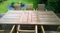 rectangular extending table with stacking arm chairs |C&T Teak | Sustainable Teak Garden Furniture | extending   \ Norfolk
