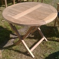 Folding Round Teakwood Table 90cm