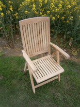 Multi position folding teak arm chair