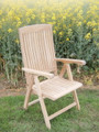 Multi position folding teak arm chair   teak garden furniture from chairsandtables.co.uk