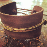 "Tribal vibe ""live salty or die"" vintage cut nail and leather bracelet"