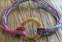 "The Salty Surfer tribal vibe circle ""good love"" Purple Haze hemp bracelet"