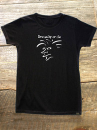"The Salty Surfer Tribal Vibe Women's ""live salty or die"" HEMP t-shirt"