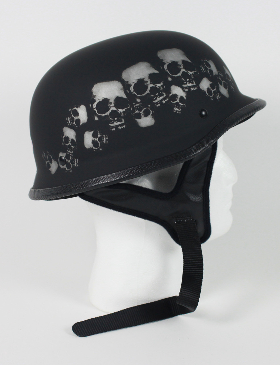 103SP - DOT German Skull Pile Motorcycle Half Helmet Skull cap
