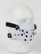 Face Mask - punk Rivet White Pleather