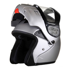 DOT Full Face Gloss Silver Modular Snowmobile Helmet