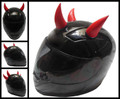 Rubber Motorcycle Helmet Horns - Red