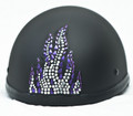 Rhinestone Helmet Patch - Purple Flame