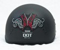 Rhinestone Helmet Patch - Red Sparkly Butterfly