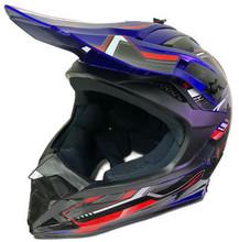 DOT ATV Dirt Bike MX Blue Motorcycle Helmet