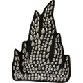 Rhinestone Helmet Patch - Silver Flame