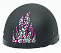 Pink Flame Rhinestone Helmet Patch