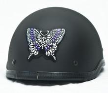 Purple Butterfly Rhinestone Helmet Patch