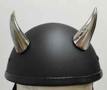 Chrome Devil Horns Medium Curved Helmet Horns