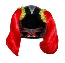 Red Motorcycle Helmet Pigtails