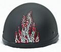 Rhinestone Helmet Patch - Red Flame