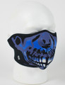 Face Mask - 1/2 Blue Skull Face Design Neoprene