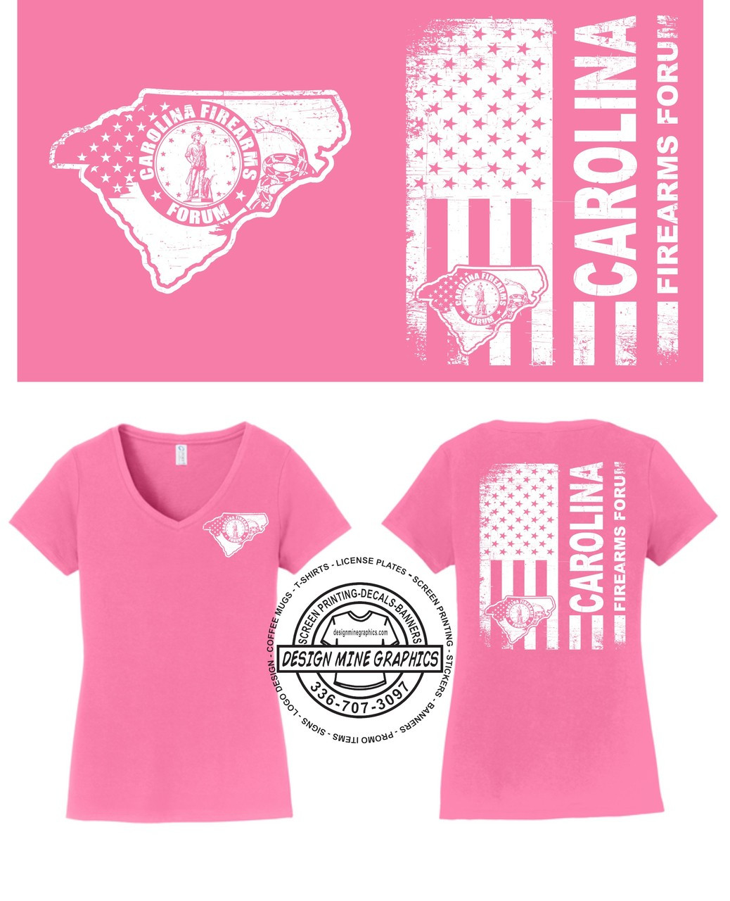 Ladies V'neck CFF Distressed Flag