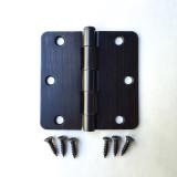"Oil Rubbed Bronze 3.5 inch X 3.5"" x 1/4"" Radius Corner Residential Door Hinge Complete Home Hardware Brand"