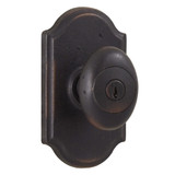 Molten Bronze Durham Reversible Keyed Entry Door Knob with Premiere Rosette - Oil Rubbed Bronze