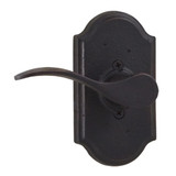 Molten Bronze Carlow Left Hand Dummy Door Lever with Premiere Rosette - Oil Rubbed Bronze