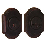 Molten Bronze Double Cylinder Deadbolt with Premiere Rosette - Oil Rubbed Bronze