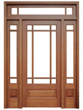 Mahogany Madison Single Door with 2 Sidelights and Transom