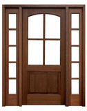 Mahogany Brentwood Single Door with 2 Sidelights