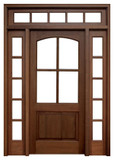 Mahogany Brentwood Single Door with 2 Sidelights and Transom