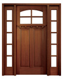 Mahogany Lakewood Single Door with 2 Sidelights