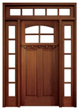 Mahogany Lakewood Single Door with 2 Sidelights and Transom