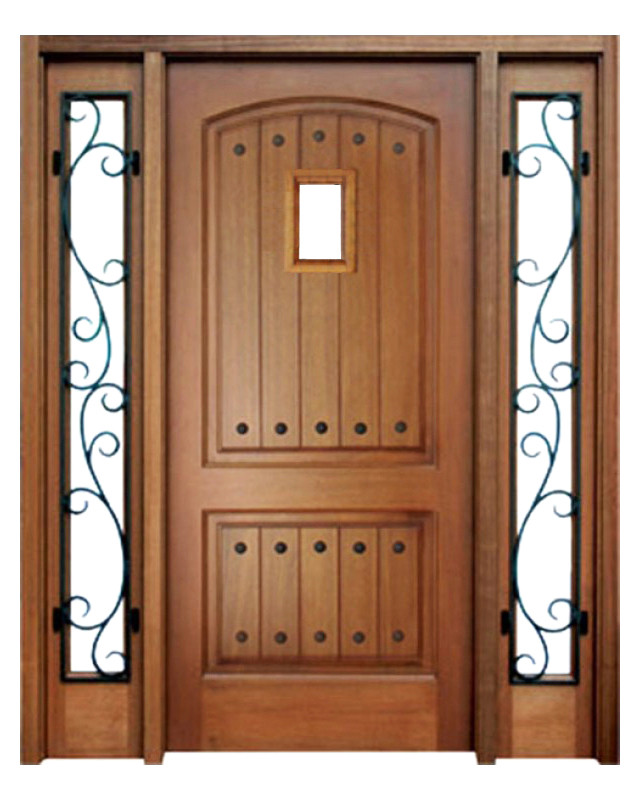 Mahogany Decatur Hendersonville Single Door, 2 Sidelights With Speakeasy  And Clavos