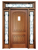 Mahogany Decatur Hendersonville Single Door, 2 Sidelights, Transom with Speakeasy and Clavos