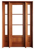 Mahogany Alexandria TDL 3LT 8/0 Single Door with 2 Sidelights