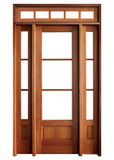 Mahogany Alexandria TDL 3LT 8/0 Single Door with 2 Sidelights and Rectangular Transom