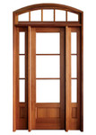 Mahogany Alexandria TDL 3LT 8/0 Single Door with 2 Sidelights and Segment Arch Transom