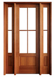 Mahogany Alexandria TDL 4LT 6/8 Single Door with 2 Sidelights
