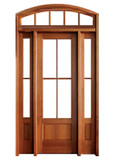 Mahogany Alexandria TDL 4LT 6/8 Single Door with 2 Sidelights and Segment Arch Transom