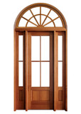 Mahogany Alexandria TDL 4LT 6/8 Single Door with 2 Sidelights and Half Round Transom