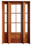Mahogany Alexandria TDL 6LT 6/8 Single Door with 2 Sidelights