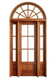 Mahogany Alexandria TDL 6LT 6/8 Single Door with 2 Sidelights and Half Round Transom