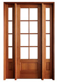 Mahogany Alexandria TDL 8LT 8/0 Single Door with 2 Sidelights